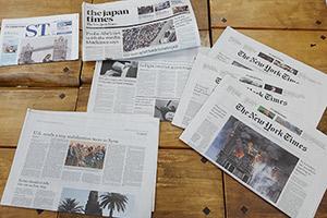 置いてある本も新聞も英字で、外国にいるような疑似体験ができるのではないでしょうか