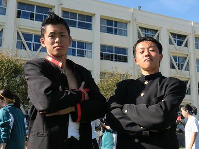 団長の池田くん(左)と副団長の小松くん。