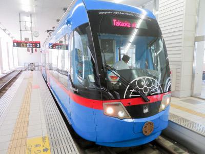 富山は藤子不二雄の故郷ということで、レアな車両「万葉線ドラえもんトラム」にも乗りました。