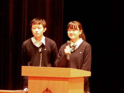 この日、立派に司会を務めたのはMGSコース2年の生徒2人。