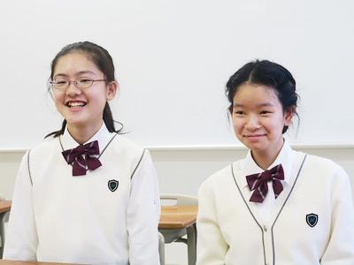 左から川俣真理瑛(かわまた・まりえ)さん、永作風優香(ながさく・ふゆか)さん。お2人とも中学1年生です。