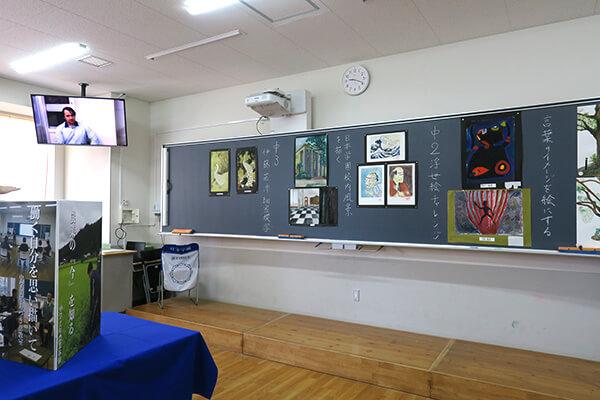 展示と学校説明ビデオで、学校の雰囲気を知ってもらおうとさまざまな工夫がありました。