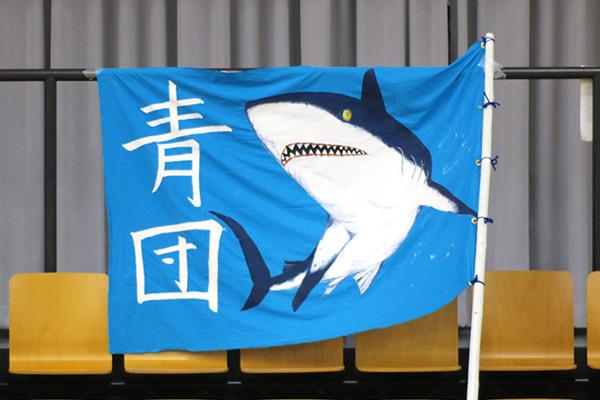 青団のサメのイラストが描かれた旗